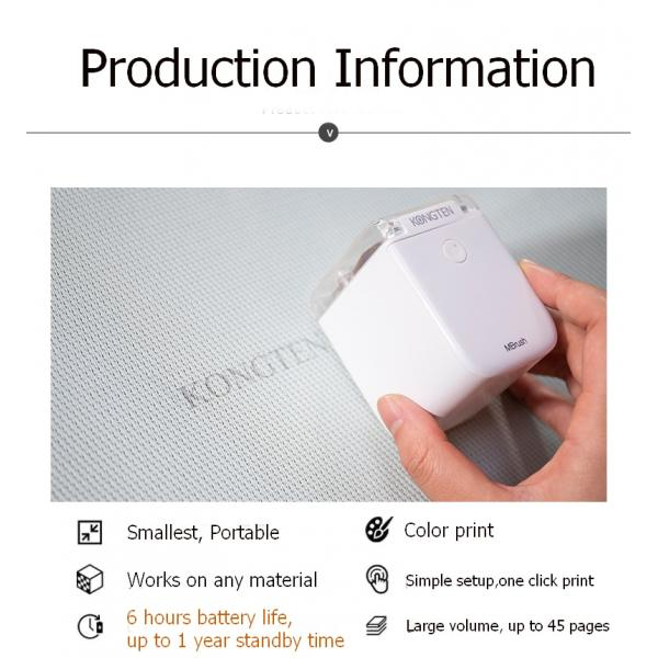 Mbrush Portable Mobile Color Mini Handheld Printer WIFI USB for ios Android tattoo logo wireless Bluetooth A4 inkjet printer